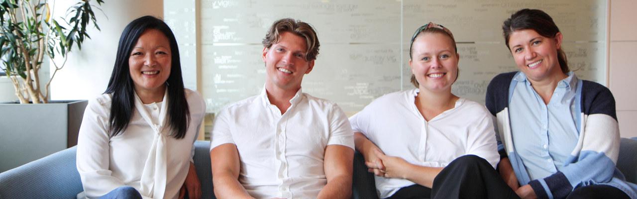 Designstipend 2019. Jeanette Løining fra Ekornes, Tobias Berg, Vilde Hagelund og Sofie Korzonek fra Vestre