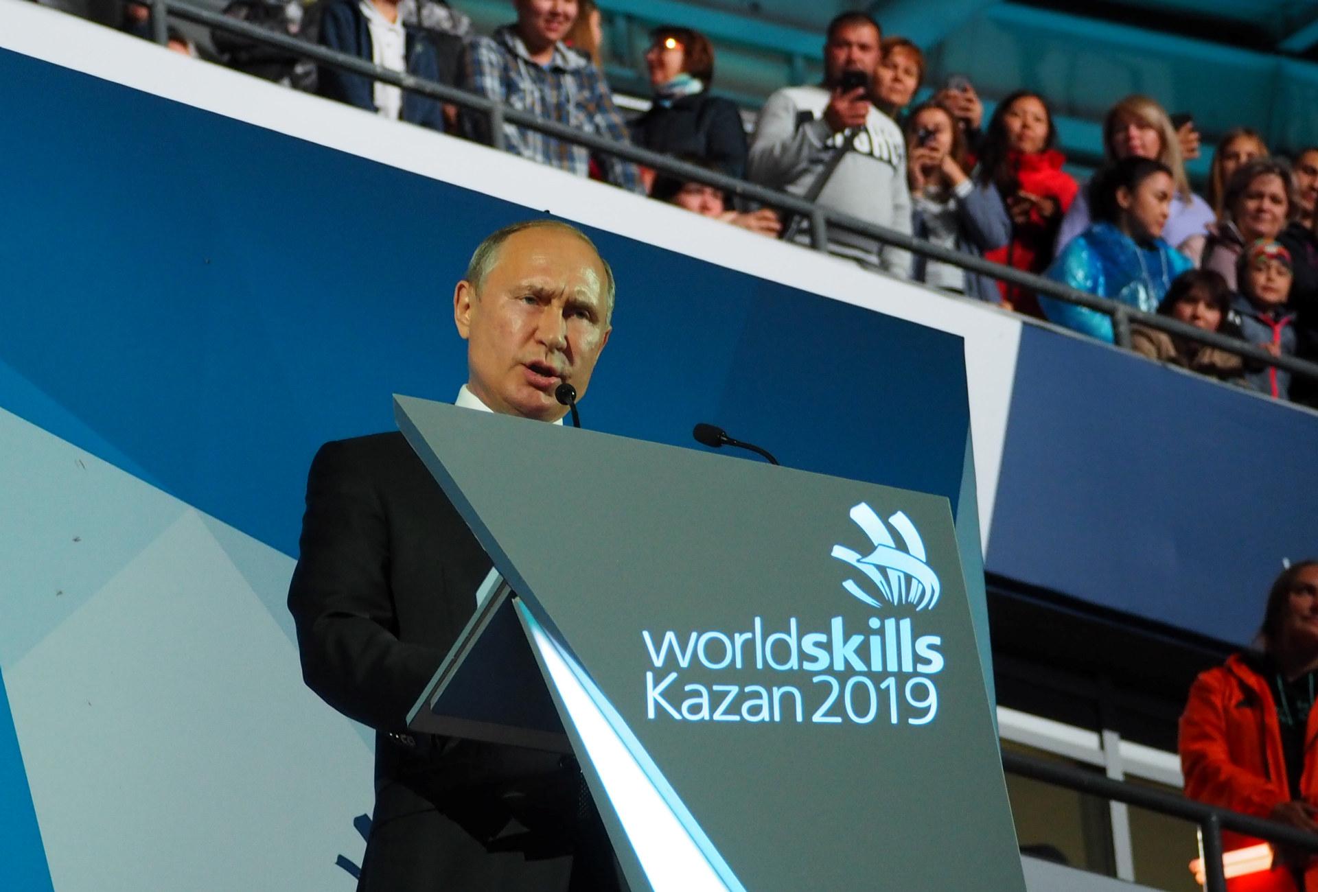 President Vladimir Putin avsluttet årets Yrkes-VM i Russland. Foto: Cathrine W. Eidal / WorldSkills Norway