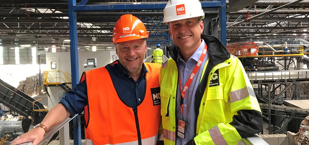 Byrådsleder Raymond Johansen og konsernsjef Erik Osmundsen, Norsk Gjenvinning.