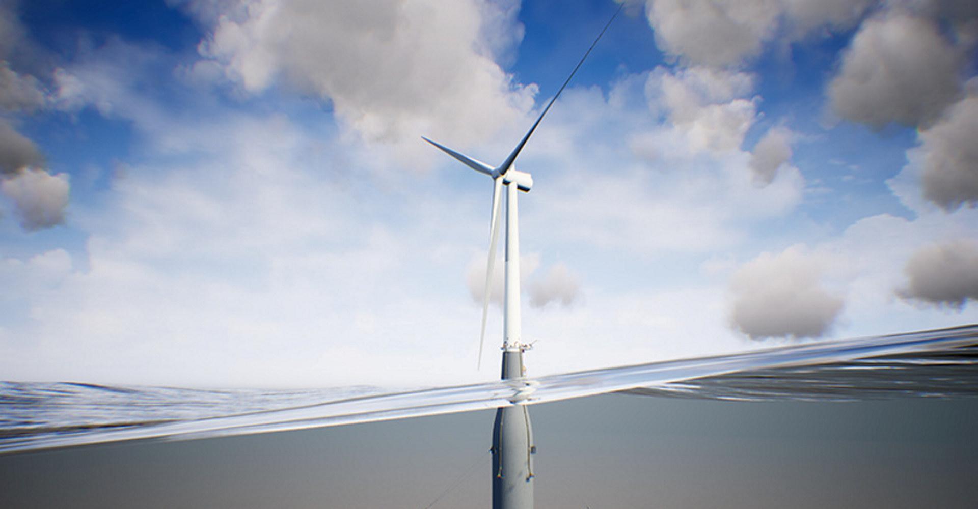 Kværner skal levere 11 flytende betongskrog for turbiner for offshore vindkraft, samt marine driftstjenester for Hywind Tampen-prosjekt. Illustrasjon: Kværner