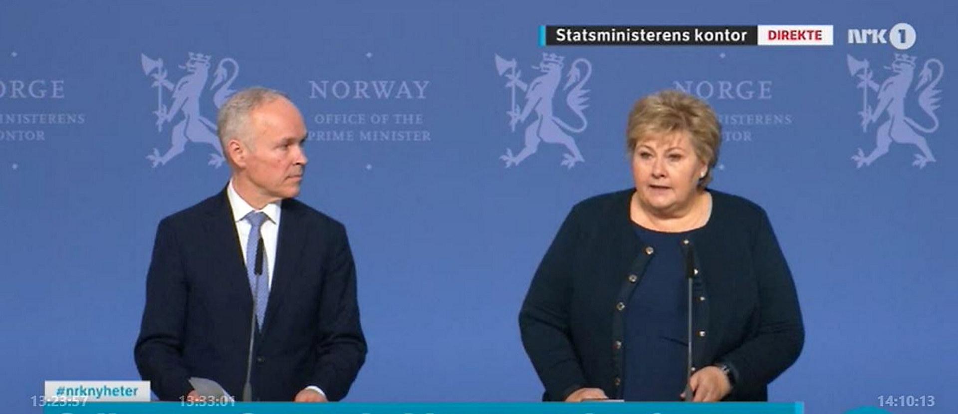 Statsminister Erna Solberg og finansminister Jan Tore Sanner. Skjermdump: NRK