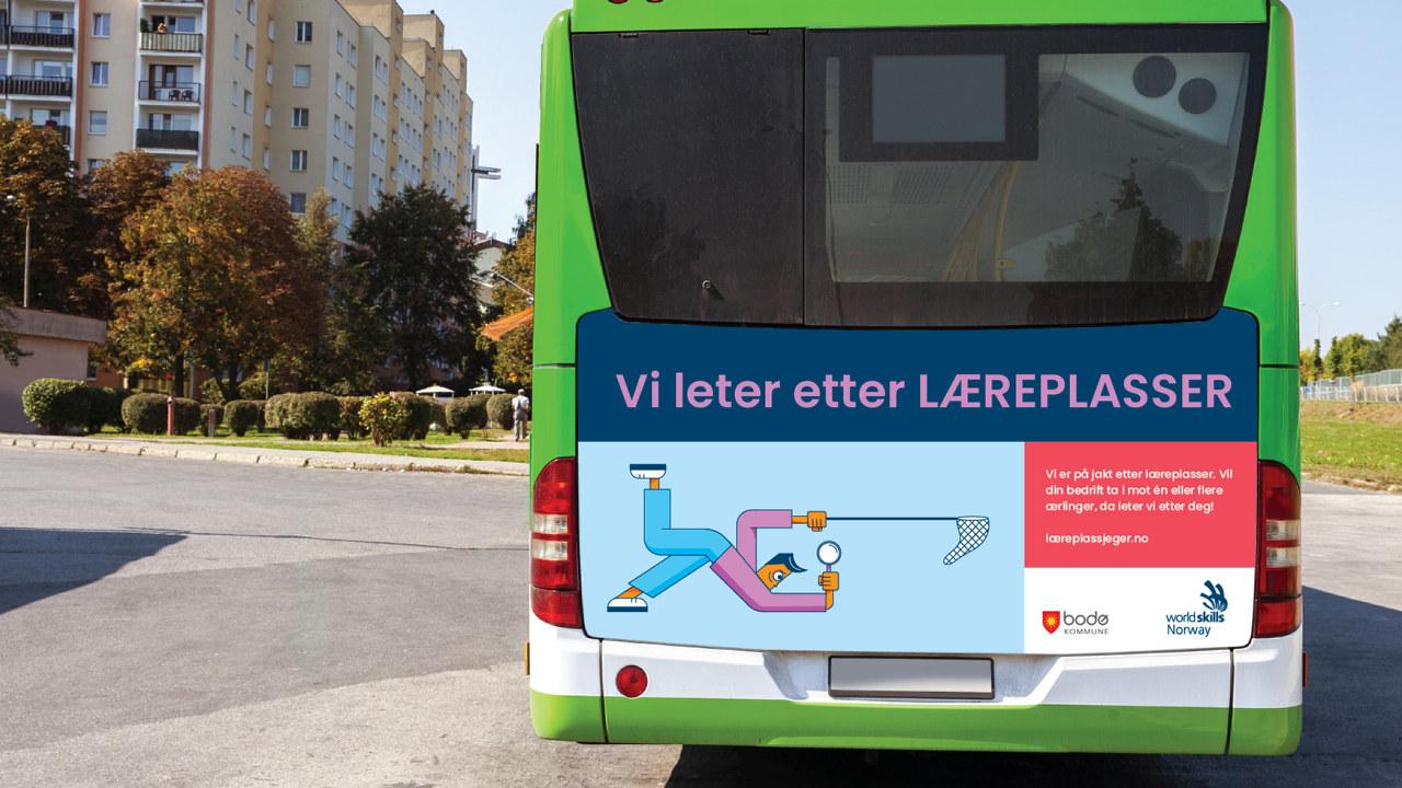 Illustrasjonsbilde på kampanjeannonse på buss.