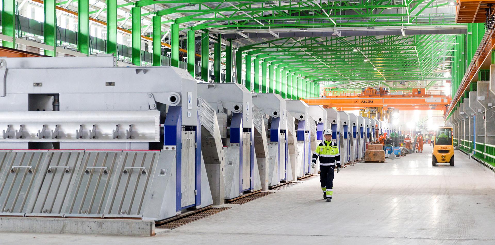 Elektrolysehallen på Hydros Karmøy-pilot. Foto: Øyvind Breivik / Hydro