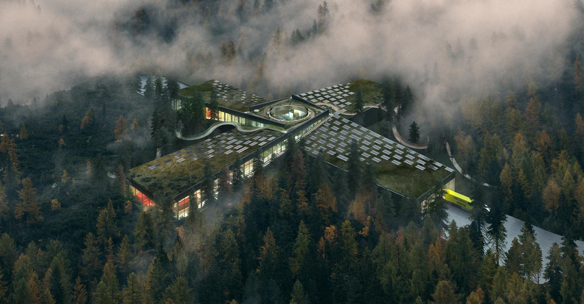 Vestre skal bygge verdens mest miljøvennlige møbelfabrikk i Norge. Illustrasjon: Vestre