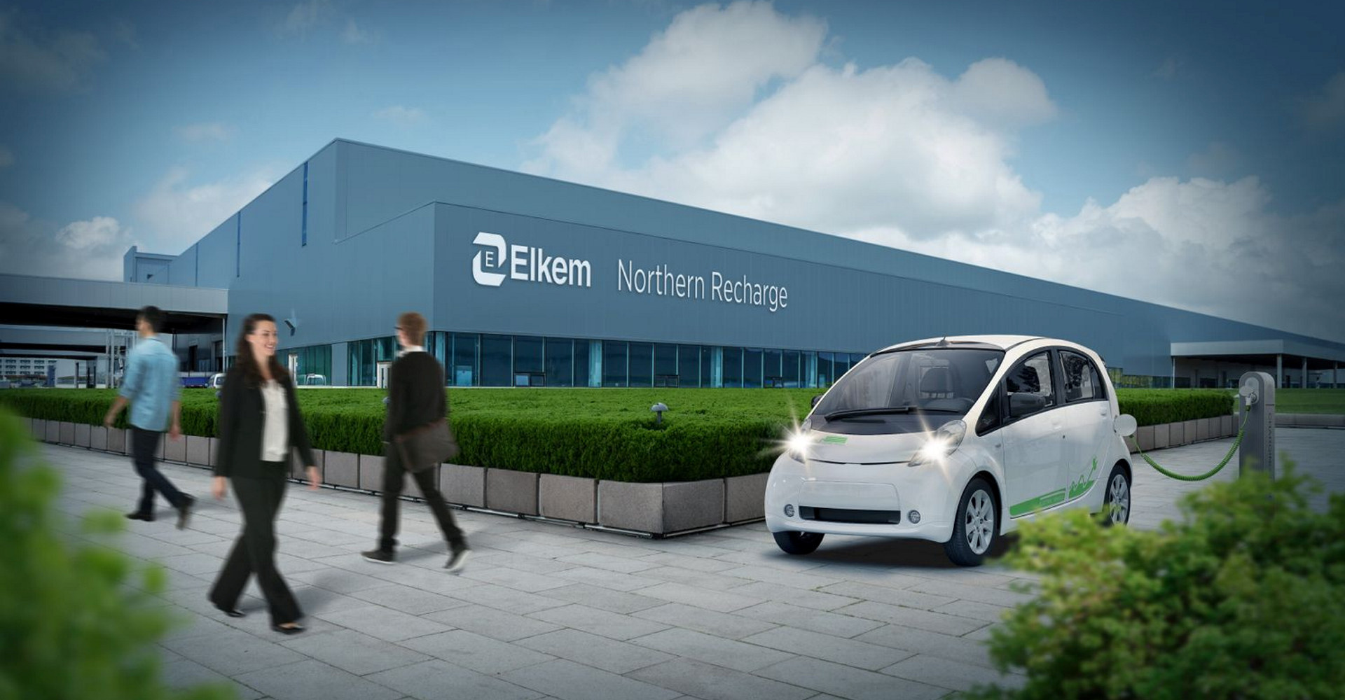 Elkem-konsernet har valgt Herøya Industripark som sted for en mulig fabrikk for fullskala industriproduksjon av batterigrafitt i Norge. Illustrasjon: Elkem