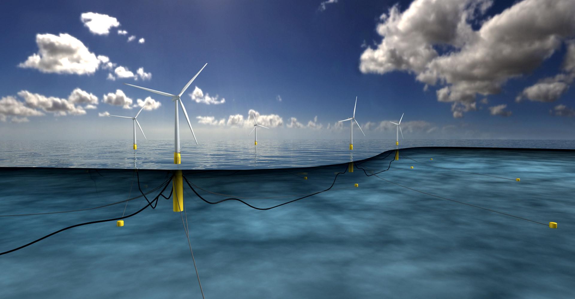 Illustrasjon av Hywind Wind Farm. Illustrasjon: Equinor