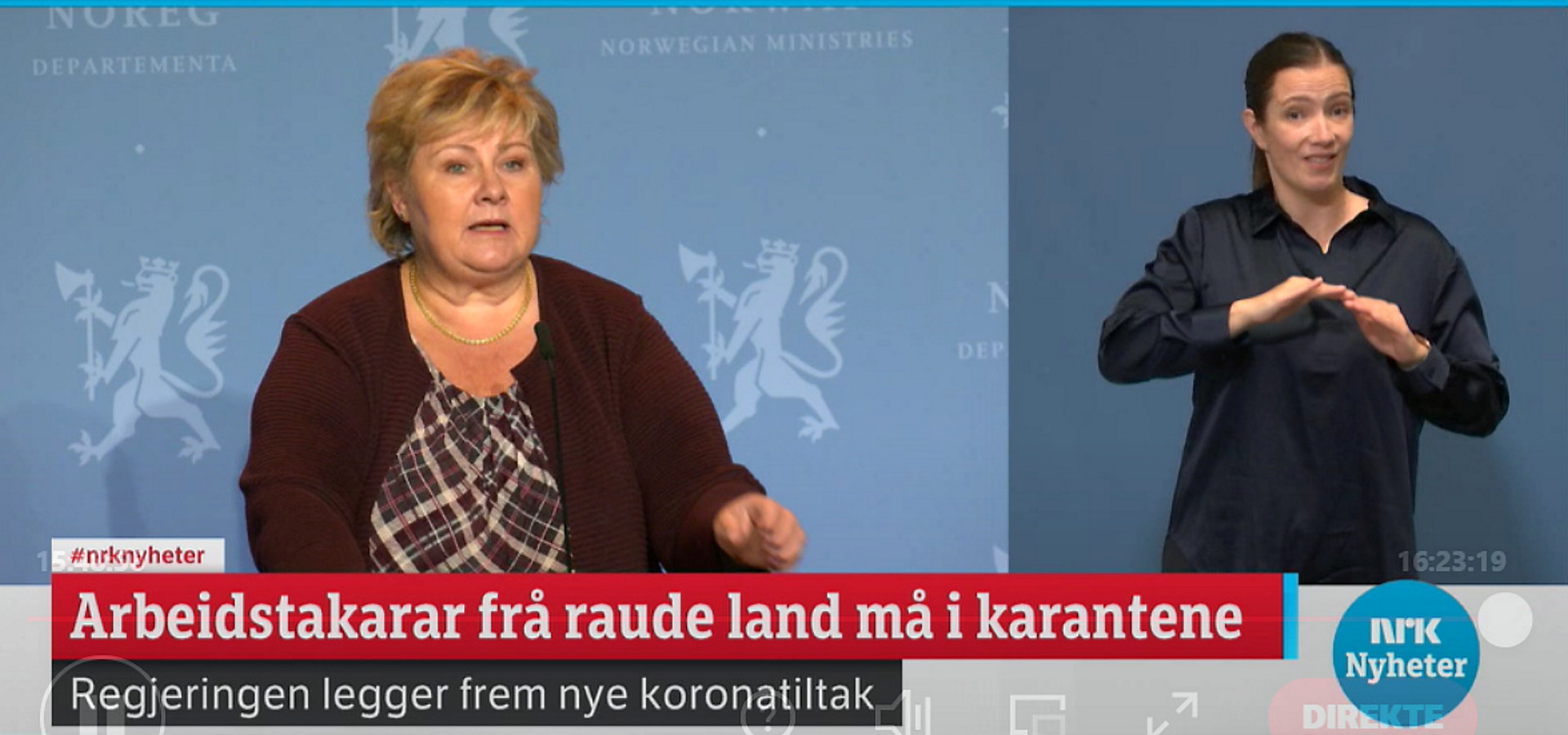 Fra regjeringens pressekonferanse 26. oktober 2020. Skjermdump fra nrk.no