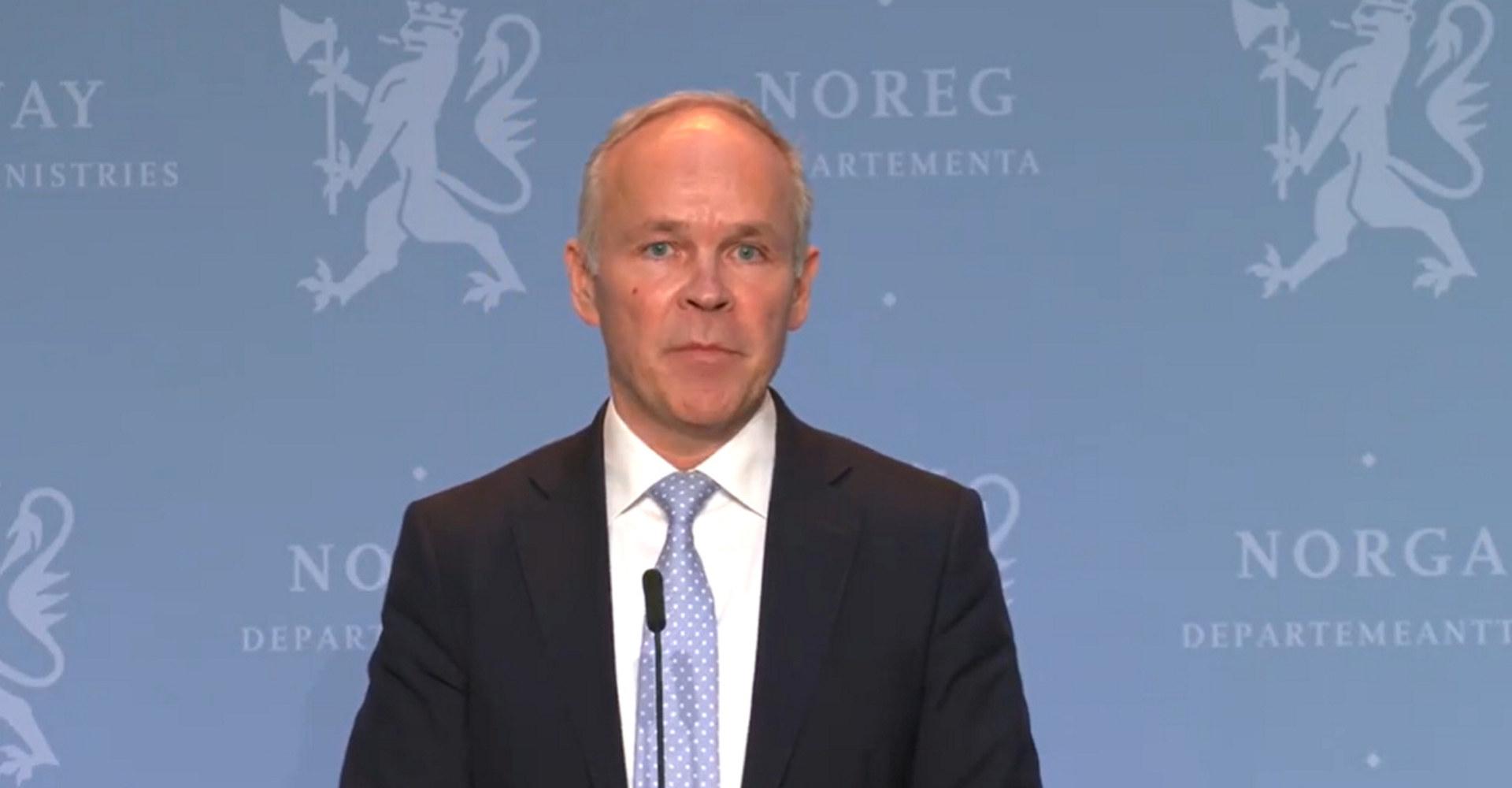 Finansminister Jan Tore Sanner på pressekonferansen 10. november 2020. Skjermdump fra regjeringen.no