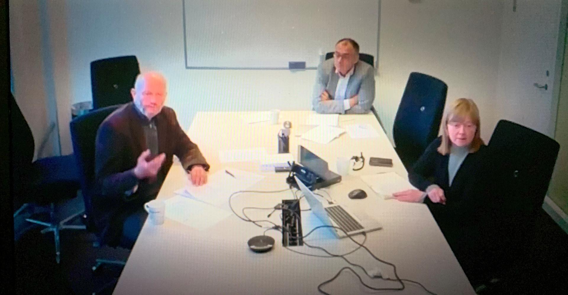 Stein Lier-Hansen, Ole Børge Yttredal og Jeanette Iren Moen deltok på høringen om Langskip. Skjermdump: Stortingets nett-tv