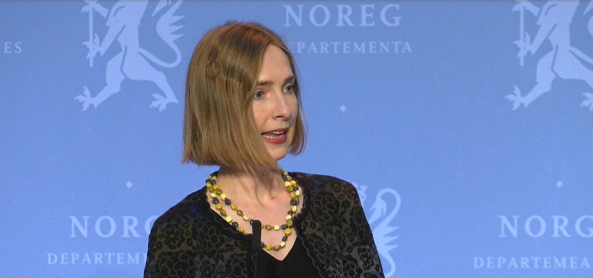 Næringsminister Iselin Nybø. Skjermdump fra regjeringen.no