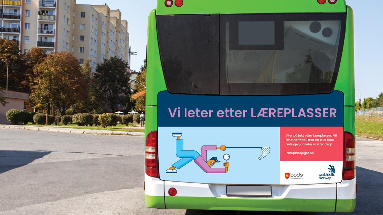 Fylkeskommunene jobbet ekstra hardt for å skaffe flere læreplasser i 2020. Her er bussreklame for Læreplassjeger-kampanjen 2020 fra Innlandet Fylkeskommune.