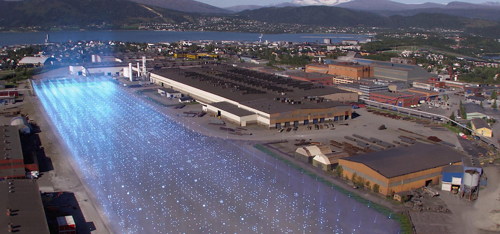 Illustrasjon av batterifabrikk i Mo i Rana