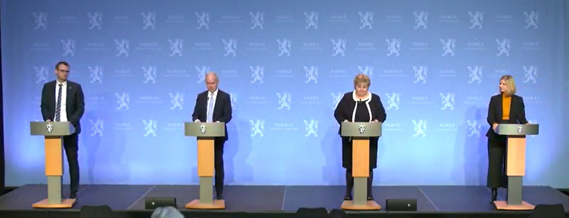 Regjeringens pressekonferanse 29. januar. Skjermdump fra regjeringen.no