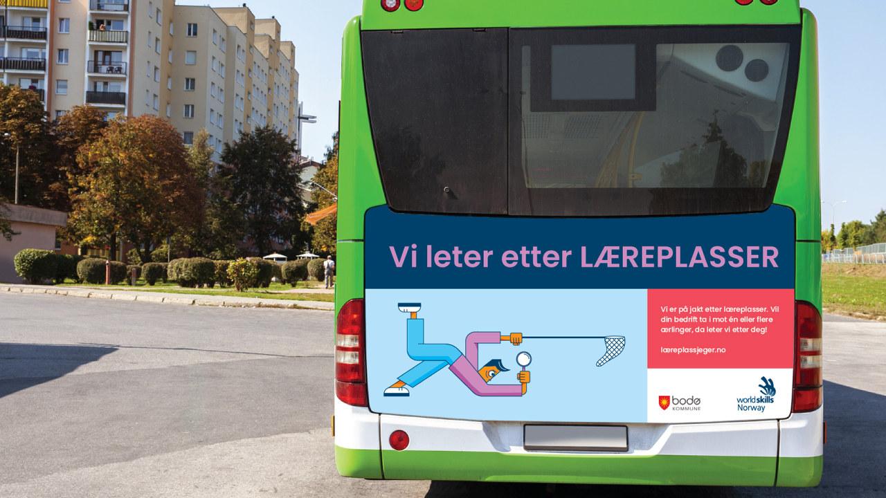 Læreplassjeger-annonse på grønn buss
