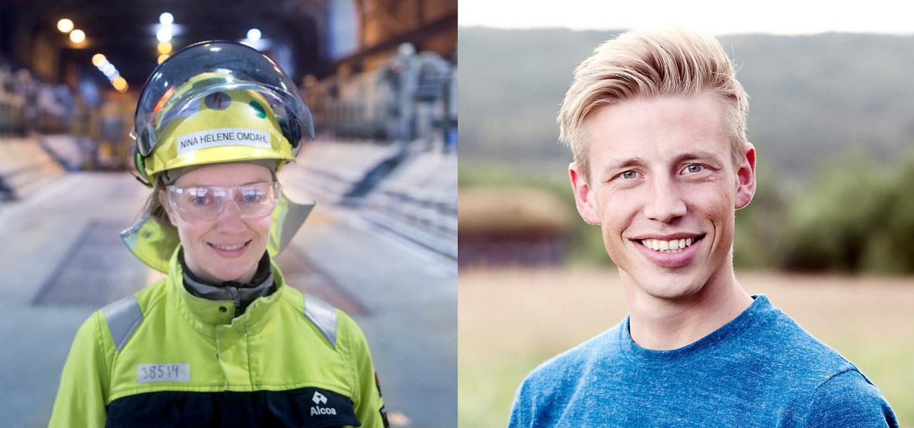 Nina Helene Omdahl, prosessingeniør i elektrolysen ved Alcoa Mosjøen (foto: Rune Nilsen / Alcoa) og Andreas Garnes Bergh, produksjonsutvikler hos Flokk.