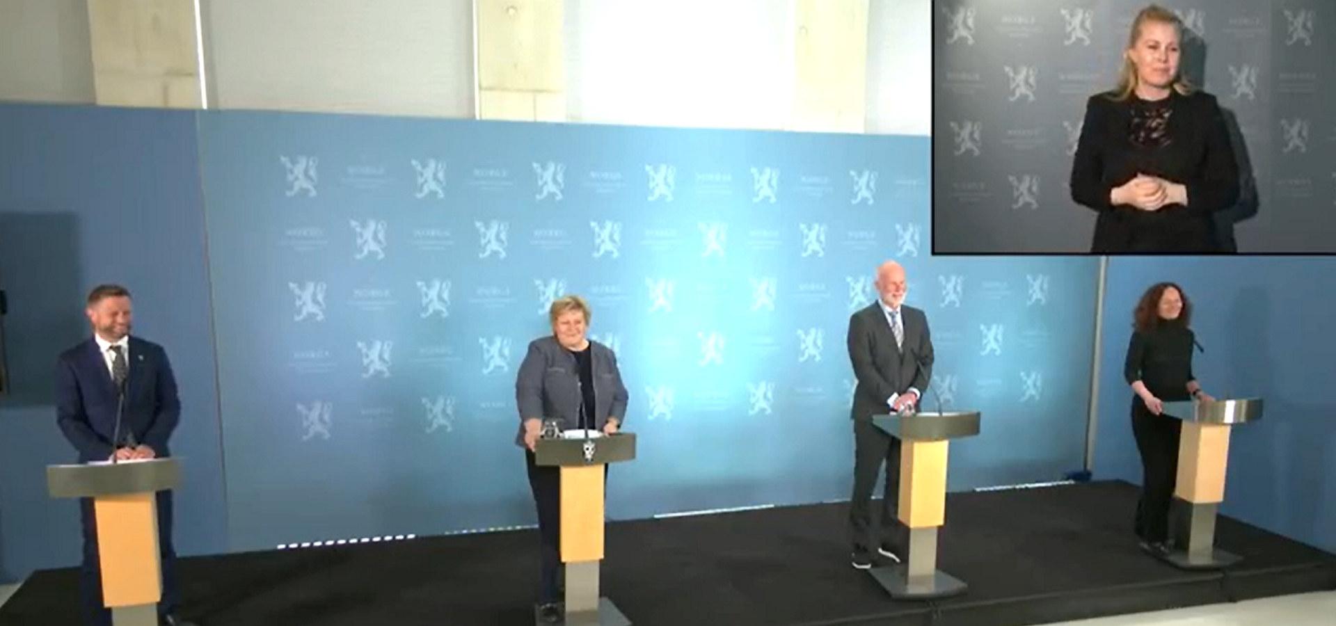 Regjeringens pressekonferanse i forbindelse med fremleggelse av plan for gjenåpning av Norge 7. april 2021. Skjermdump fra regjeringen.no