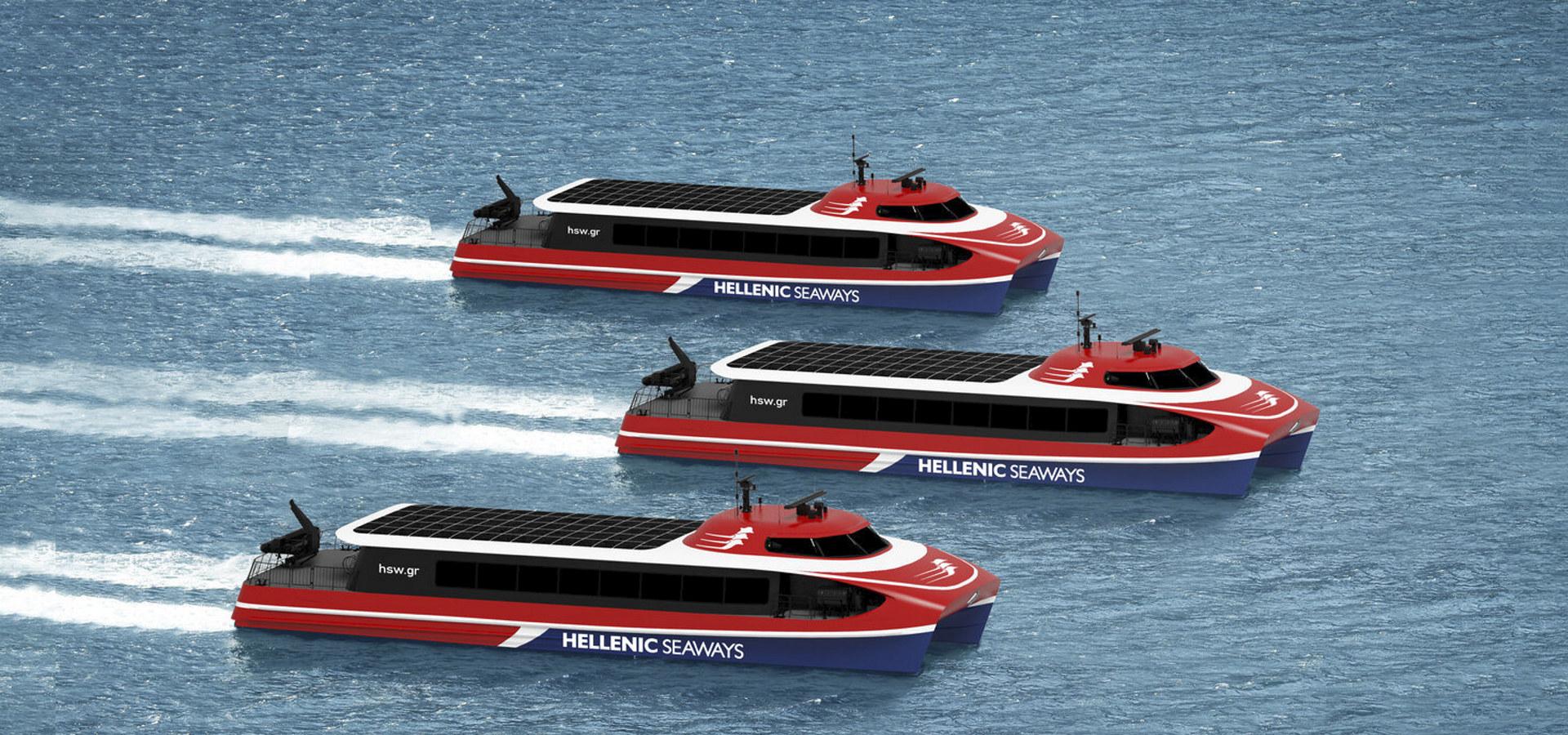 Brødrene Aa har blitt tildelt kontrakt for bygging av tre miljøvennlige hurtigbåter som skal frakte passasjerer rundt i det østlige Middelhavet. Illustrasjon: Brødrene Aa