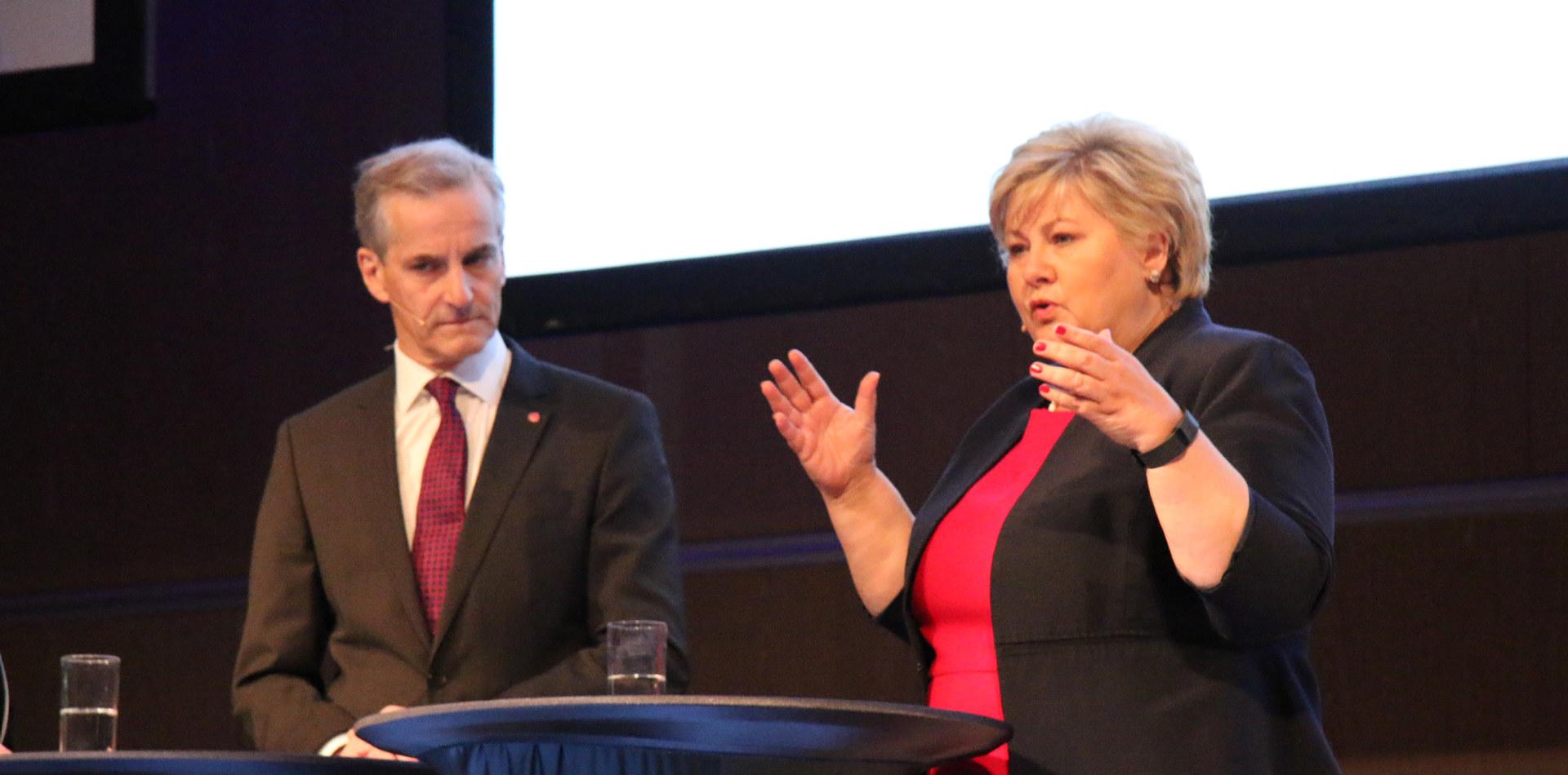 Fra Industrikonferansen 2017. Statsminister Erna Solberg og partileder i AP, Jonas Gahr Støre