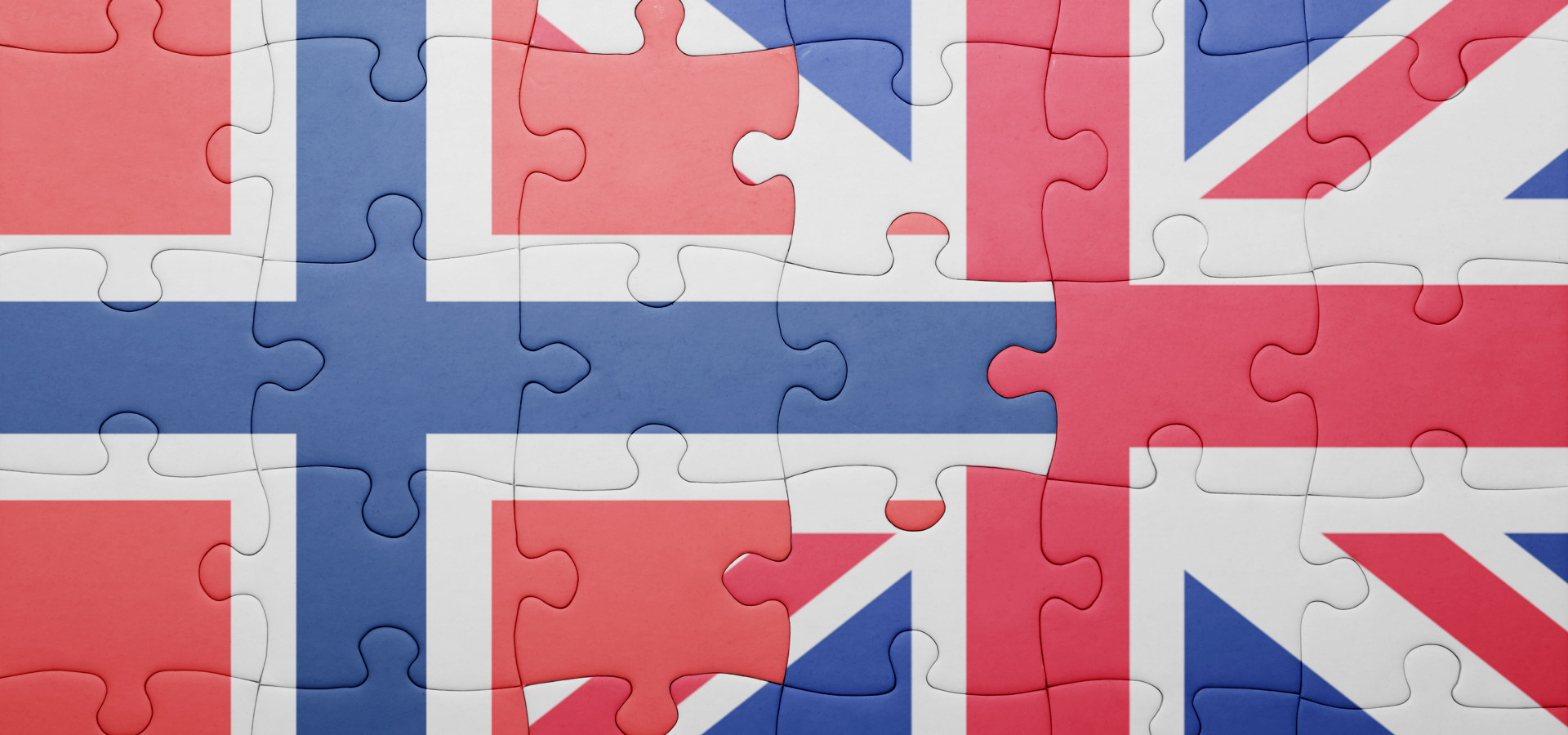 Norge Storbritannia flagg puslespill
