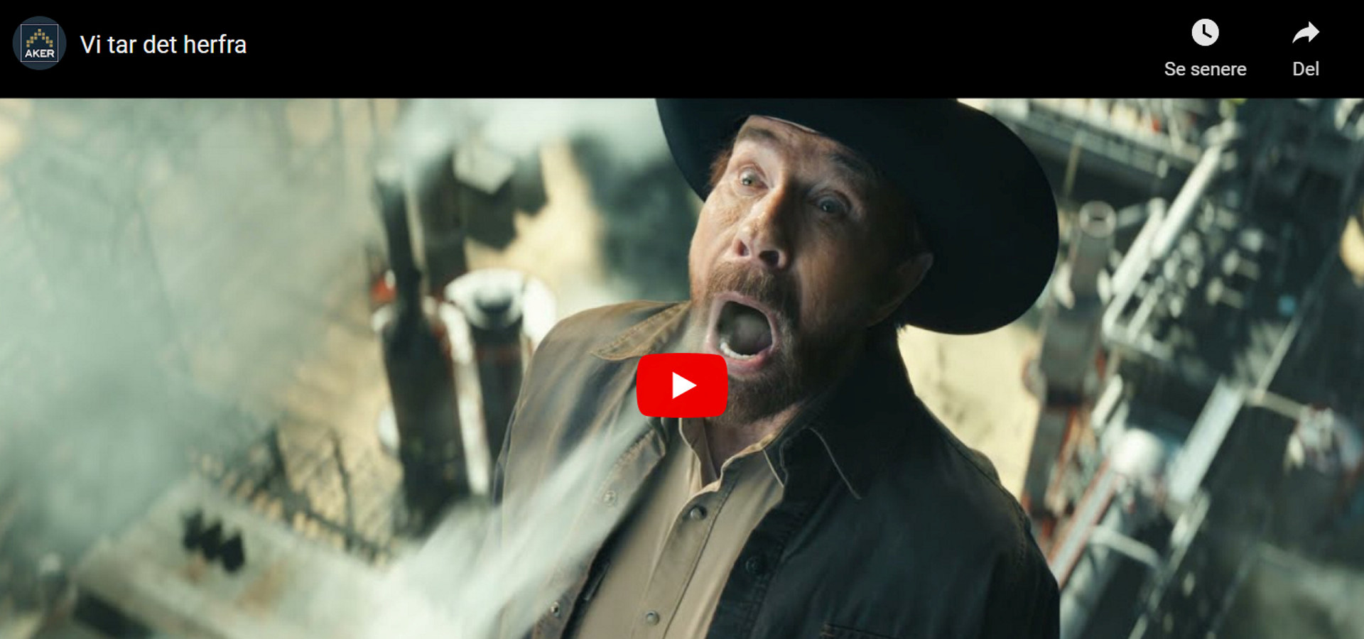 """Skjermdump fra Akers reklamefilm """"Vi tar det herfra"""" med Chuck Norris i hovedrollen."""