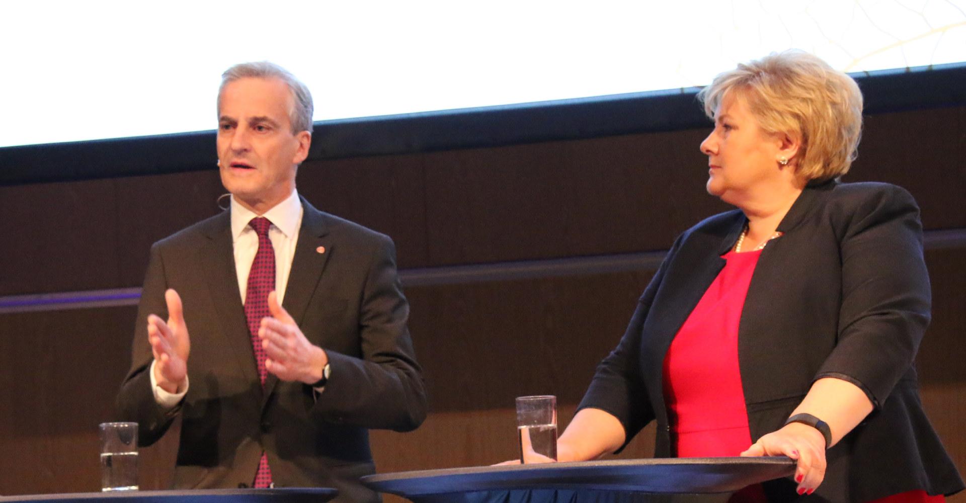 Fra Industrikonferansen 2017. Konferansier Anne Grosvold. Statsminister Erna Solberg og partileder i AP, Jonas Gahr Støre