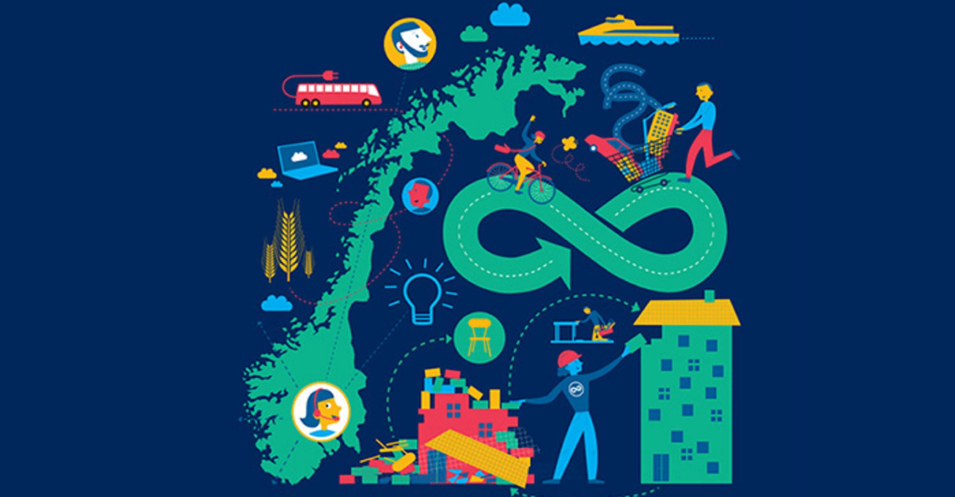Forsideillustrasjon Handlingsplan for økt andel klima- og miljøvennlige offentlige anskaffelser og grønn innovasjon. Illustrasjon: Direktoratet for forvaltning og økonomistyring