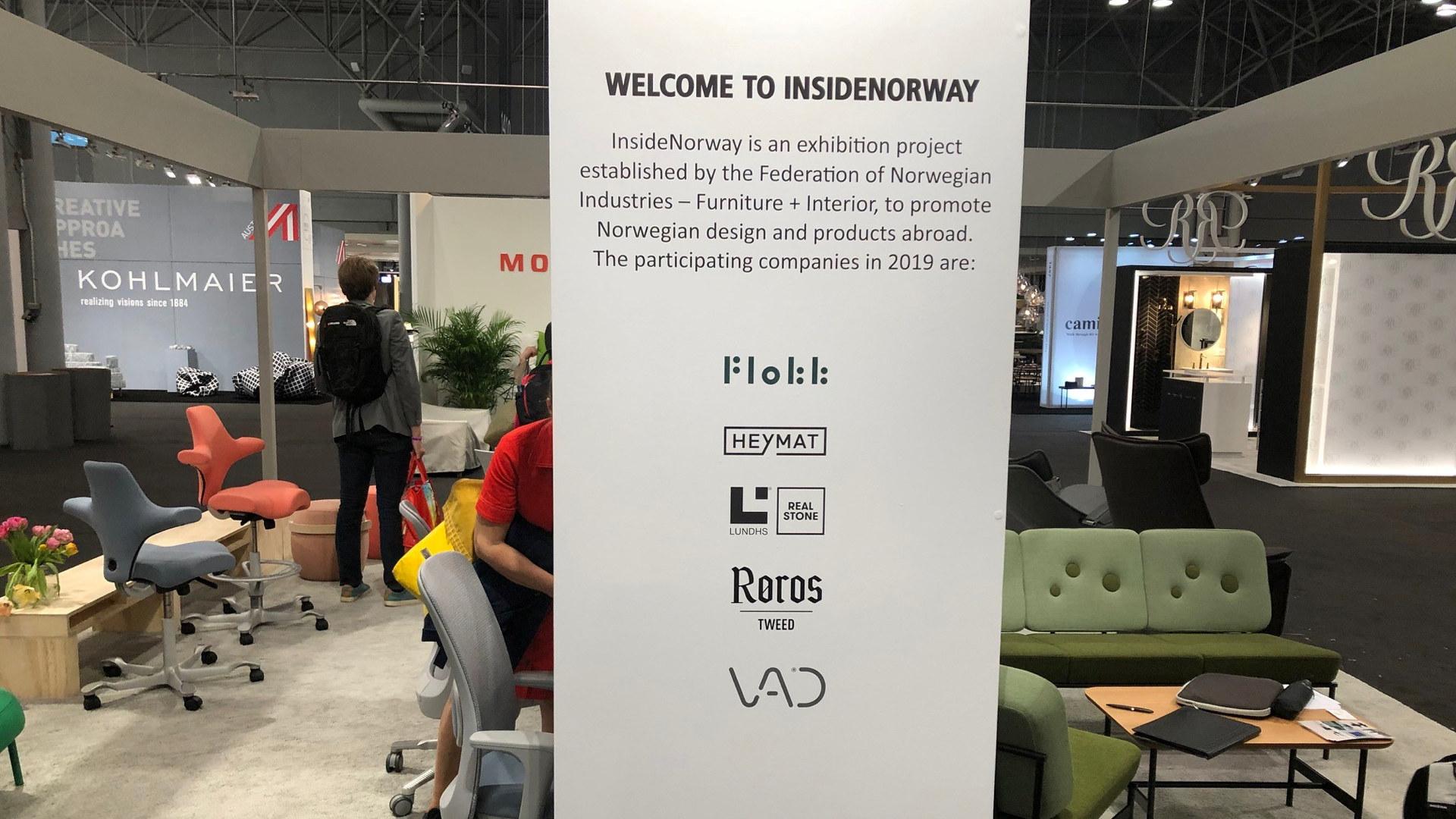 Fra den norske fellesstanden på ICFF-messen i New York i 2019. Foto: Norsk Industri